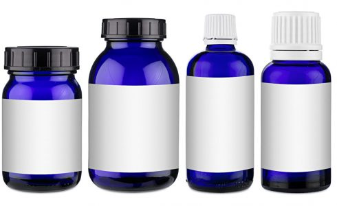 Set collection row of various blue medicine pill glass pipette dropper bottle with blank copyspace label design pattern without isolated on white panorama background